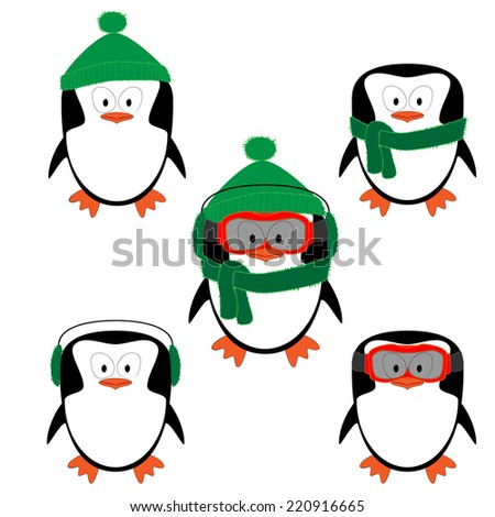 Winter cartoon penguins with different clothes - stock vector