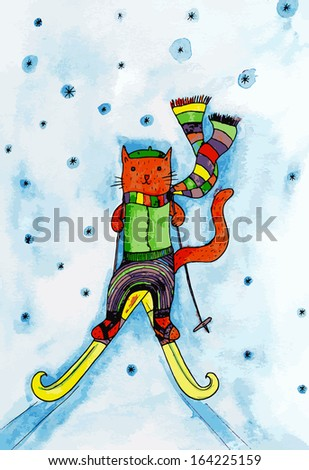 Winter cat. Watercolor illustration.