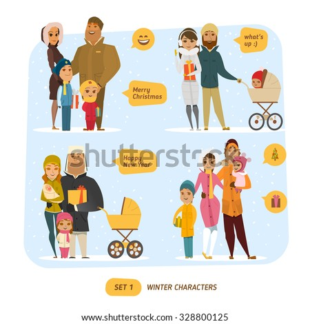 Winter characters set - stock vector