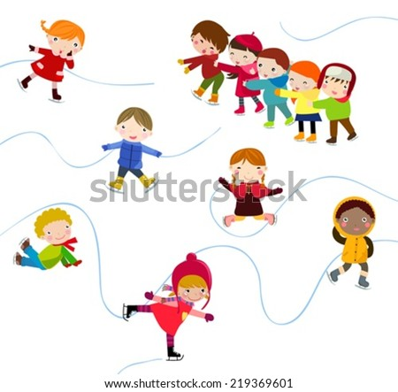 Winter children playing
