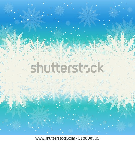 Winter Christmas background, snow and snowflakes
