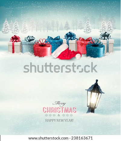 Winter Christmas background with presents and a lantern buried in snow. Vector. - stock vector