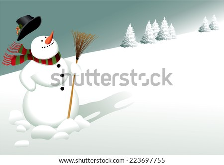 Winter Christmas background with snowman - stock vector