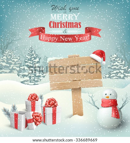 Winter Christmas Background with Wooden Signpost Snowman and Gift Boxes - stock vector