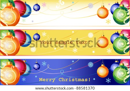 Winter christmas banner with balls for winter holidays.