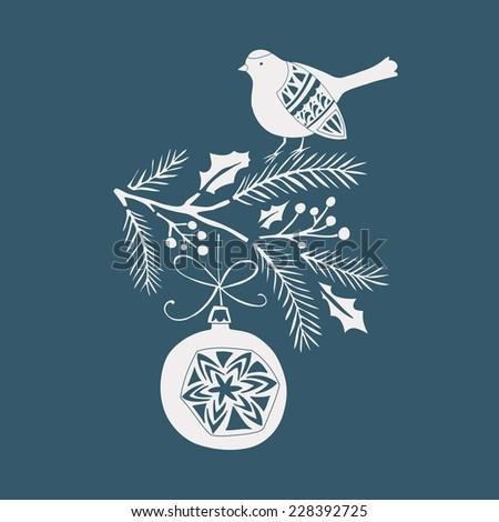 Winter & Christmas Card Design with a bird - stock vector