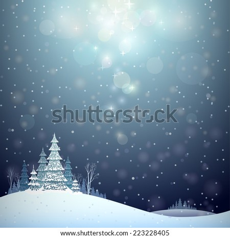 winter Christmas landscape - stock vector