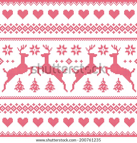 Winter, Christmas red seamless pixelated pattern with deer and hearts - stock vector