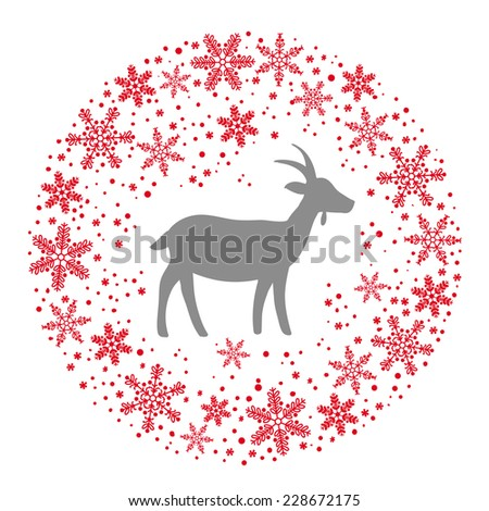 Winter Christmas Round Wreath with Snowflakes and Goat. Red Grey and White Color Vector Illustration - stock vector