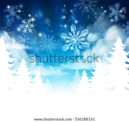 Winter Christmas trees snow background with clouds and stars. Fades to white at the bottom for easy use as border design or header.  - stock vector