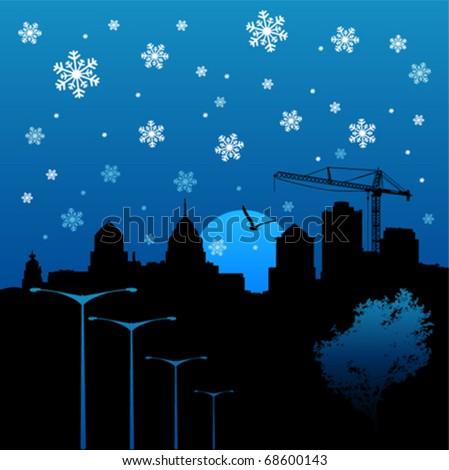 winter city - stock vector