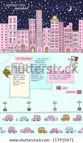 Winter City Journal: Hand-drawn urban background, with sleepy city buildings at night, during the snowfall, street lights, cars on highway, snowman, sleds and sticky notes copyspace, separate layers - stock vector