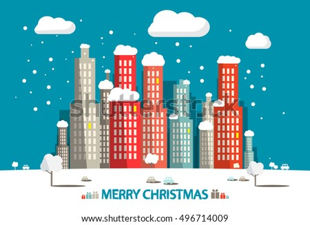 Winter City. Merry Christmas Card. Vector Flat Design Retro Illustration.