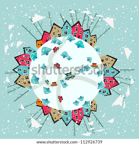 Winter city of the Earth planet - stock vector