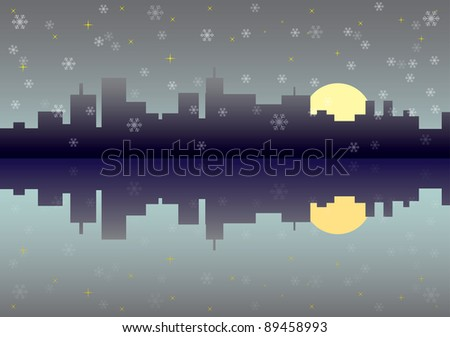 winter city panorama picture - illustration - stock vector