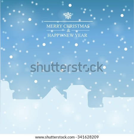 Winter city. Snow falls on building. Sky with snowflakes. - stock vector