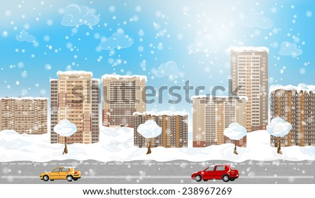 Winter city with snow. EPS 10 format. - stock vector