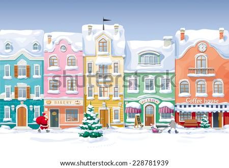 Winter cityscape - stock vector