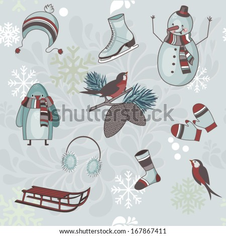 Winter Clip Art - Icons and symbols of winter season and winter fun, including snowman, wool cap, socks and mittens, and sleds - stock vector