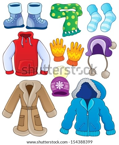 Winter clothes collection 3 - eps10 vector illustration. - stock vector