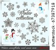 Winter collection. Set of snowflakes and snow men for your design. - stock vector