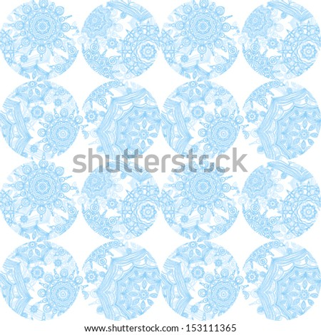 Winter concept seamless pattern of circles. Light snowflakes background. It can be used for wallpaper, pattern fills, web page, surface textures. - stock vector