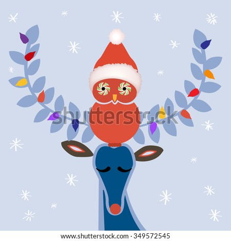 Winter deer and owl -  Christmas hat  peppermint eyes on owl  - use with or without had  - stock vector