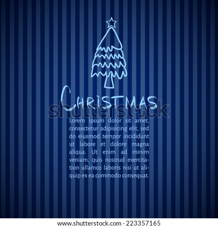winter design with Christmas tree on a background of blue stripes. vector illustration EPS 10