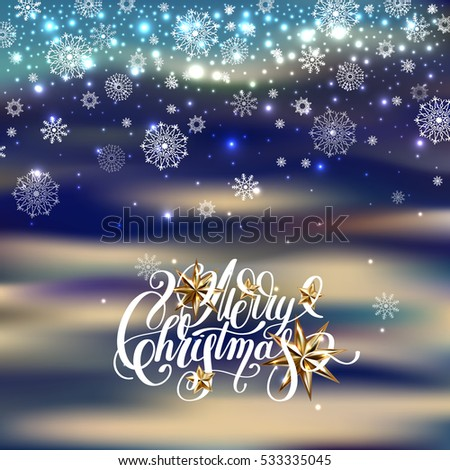 winter design with holiday lights, golden stars and handwritten lettering merry christmas to greeting card, poster, banner, vector illustration eps10