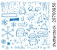 Winter Doodles - stock vector