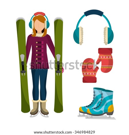 Winter fashion clothes and accesories, graphic design, vector illustration