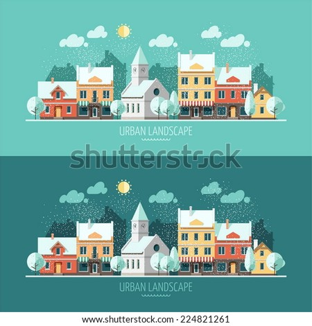 Winter - flat design urban landscape illustration - stock vector