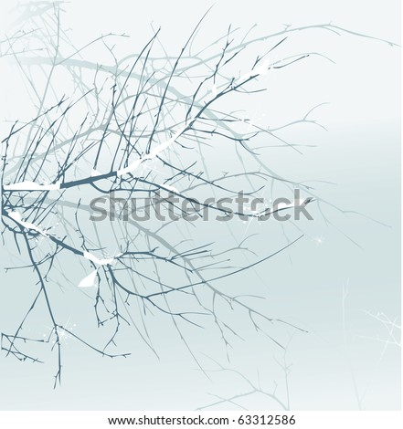 Winter forest background - stock vector