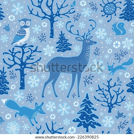 Winter forest background. Seamless pattern in blue shades. Owl, deer, fox, squirrels, birds, trees and snowflakes.