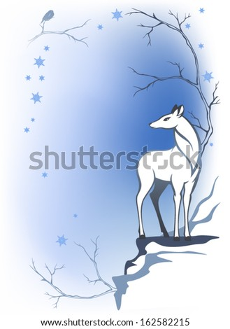 winter forest background with deer - wildlife in the woods - stock vector