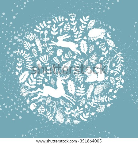 Winter forest composition with animals and plants.  Vector background. Illustration for greeting cards, invitations, and other printing projects. - stock vector