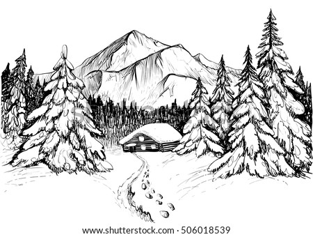 Snowy mountains on cartoon forest background