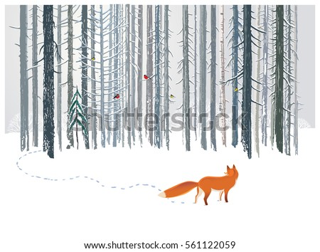 Winter forest landscape with a Fox.