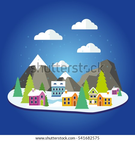 Winter forest landscape with houses and Christmas tree and mountains. Vector illustration