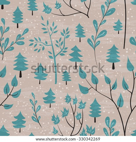 Winter forest seamless pattern. Hand drawn design for Christmas and New Year greeting cards, fabric, wrapping paper, invitation, stationery. Grunge seamless vector texture is in the separate layer.  - stock vector