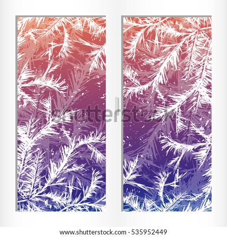 Winter frost decor on window.Hand drawn Template with place for text, Stock Vector illustration.
