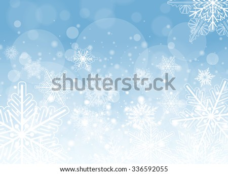 Winter frozen background with snowflakes, vector christmas illustration. - stock vector