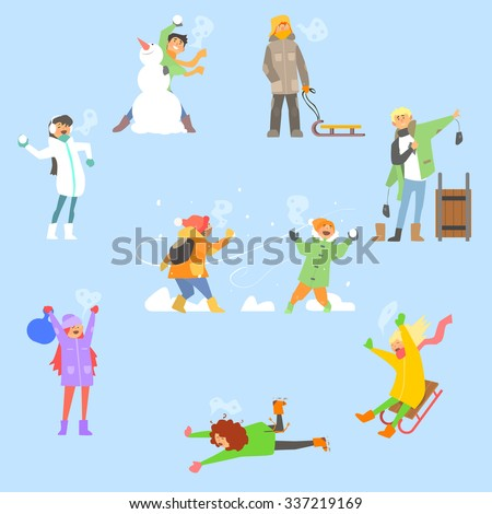 Winter Fun and Activities. Vector Illustration Collection - stock vector