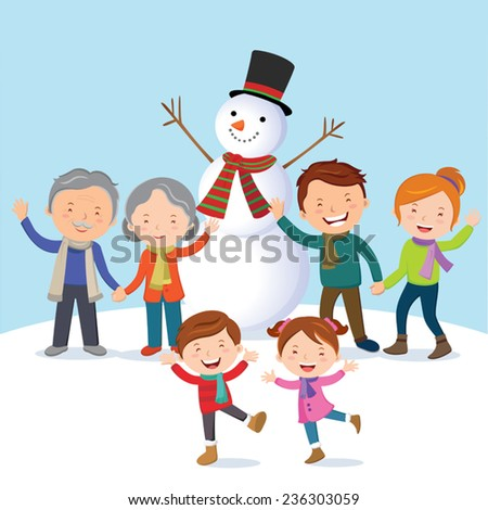 Winter fun. Cheerful family with snowman. Family enjoy their holiday in the winter time. - stock vector