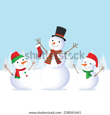 Winter fun. Cheerful snowman and friends. Snowman family. - stock vector