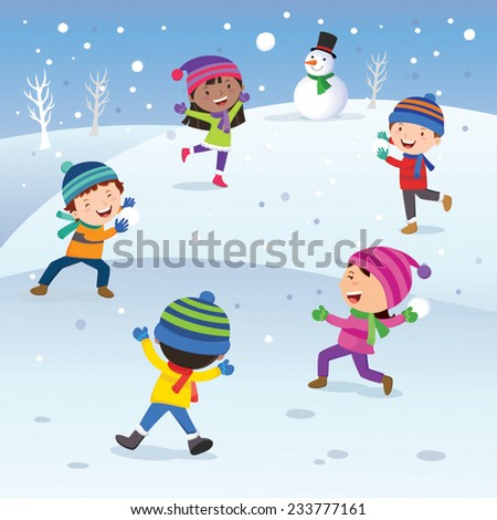 Winter fun. Children playing snowball happily. Snow ball  fight. - stock vector
