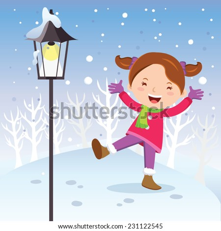 Winter fun. Girl with lamp post. Vector illustration of a cheerful girl playing in snow. - stock vector
