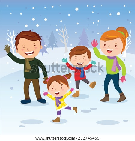 Winter fun. Happy family in the snow. Winter vacation. - stock vector