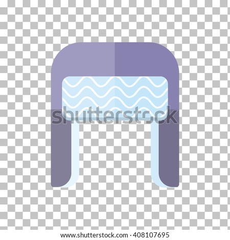 Winter fur blue wool hat icon. Knitted winter woolen cap isolated on checkered background. Flat icon winter snowboard hat cap ear-flaps. Vector illustration - stock vector