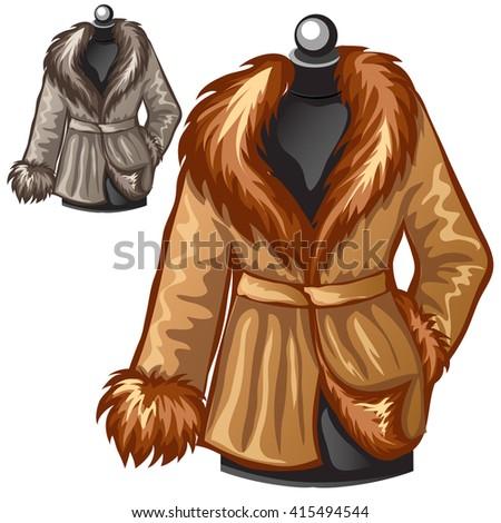 Winter Fur Coats Vector Illustration Stock Vector
